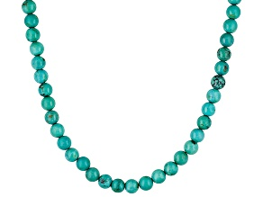 6mm Round Turquoise Bead .925 Sterling Silver Necklace