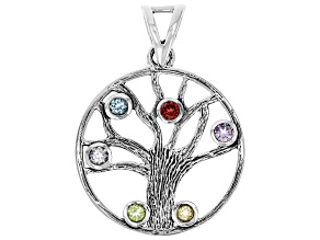 Multi Gemstone Sterling Silver Tree of Life Pendant 1.39ctw