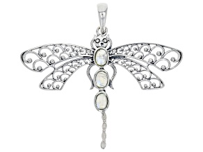 Rainbow Moonstone Sterling Silver Dragonfly Pendent