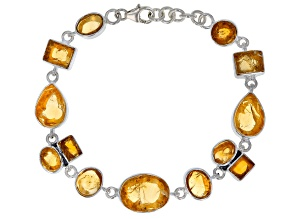 Rough Citrine Sterling Silver Bracelet
