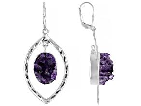 Amethyst Quartz Cluster Sterling Silver Dangle Earrings