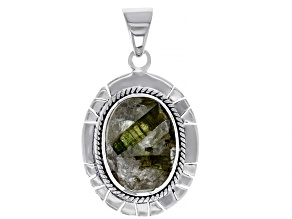 Green And White Tourmalinated Quartz Sterling Silver Pendant