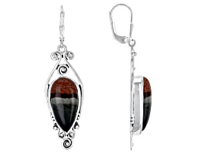 Polychrome Jasper Sterling Silver Dangle Earrings