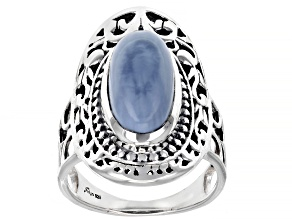 Blue Opal Sterling Silver Filigree Design Ring
