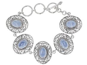 Blue Opal Sterling Silver Filigree Design Bracelet