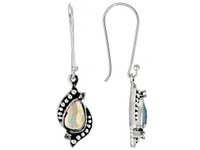 Ethiopian Opal & White Topaz Sterling Silver Earrings 0.85ctw