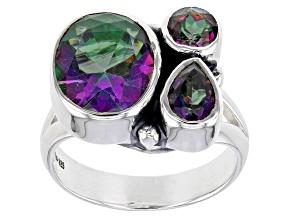 Multi Color Midnight Quartz Sterling Silver Ring 4.05ctw