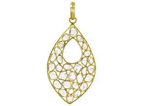 Polki Diamond 18K Yellow Gold Over Silver Pendant