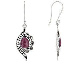 Red Indian Ruby Sterling Silver Earrings