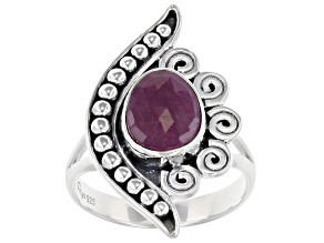 Red Indian Ruby Sterling Silver Ring