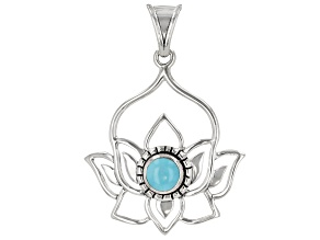 Round Turquoise Sterling Silver Lotus Pendant