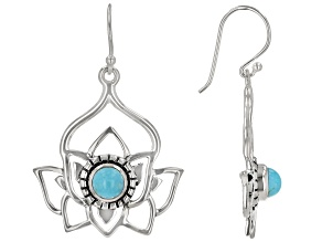 Round Turquoise Sterling Silver Lotus Earrings