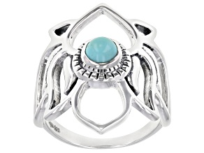 Round Turquoise Sterling Silver Lotus Ring