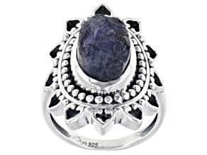 Purple Rough Iolite Sterling Silver Ring