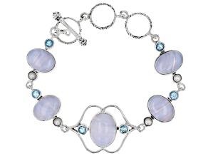 Oval Blue Lace Agate Sterling Silver Bracelet 0.27ctw