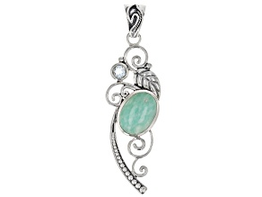 Oval Amazonite Sterling Silver Pendant 0.50ct