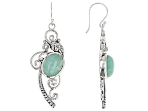 Oval Amazonite Sterling Silver Earrings 0.14ct