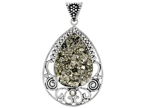 Rough Drusy Pyrite Sterling Silver Pendant 0.23ct