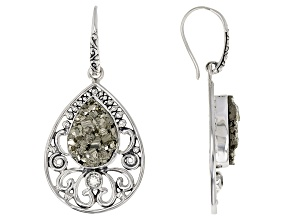 Rough Drusy Pyrite Sterling Silver Earrings 0.22ctw