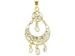 Polki Diamond 18K Yellow Gold Over Sterling Silver Pendant