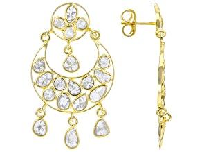 Polki Diamond 18K Yellow Gold Over Sterling Silver Crescent Moon Earrings
