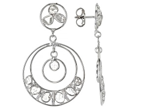 Polki Diamond Sterling Silver Dangle Earrings