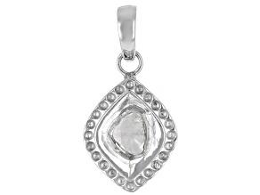 Foil-Backed Polki Diamond Sterling Silver Pendant