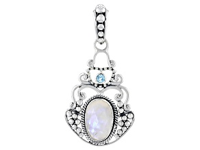 Rainbow Moonstone and 3mm Blue Topaz Sterling Silver Pendant 3.35ctw