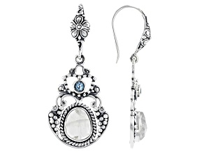Rainbow Moonstone and 3mm Blue Topaz Sterling Silver Earrings 3.68ctw