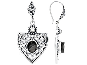 Rough Shungite With Clear Quartz Sterling Silver Earrings 0.26ctw