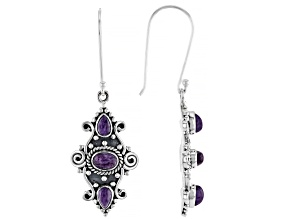 Purple Charoite Sterling Silver Earrings