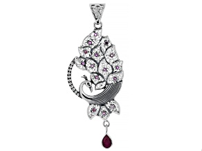 Ruby Sterling Silver Peacock Pendant 2.48ctw