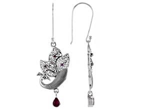 Red Ruby Sterling Silver Peacock Earrings 0.49ctw