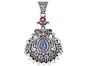 Purple Tanzanite and Multi-Color Tourmaline Sterling Silver Pendant 1.56ctw