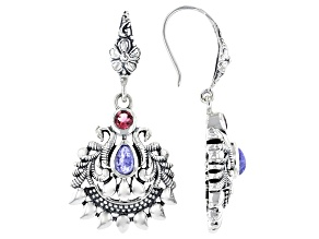 Blue Tanzanite and Pink Tourmaline Sterling Silver Earrings 0.23ctw