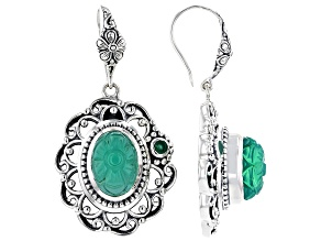Green Onyx With Emerald Sterling Silver Earrings 0.24ct