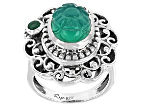 Green Onyx With Emerald Sterling Silver Ring 0.14ct