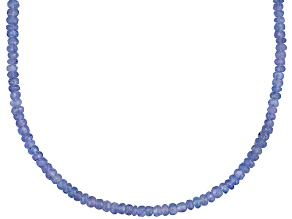 Women Everyday Bead Strand Necklace Purple Blue Tanzanite Sterling Silver