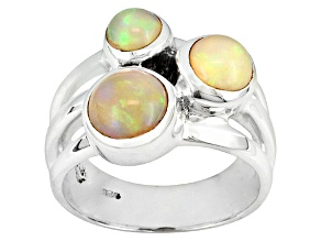 White Opal Sterling Silver Ring