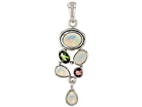Womens Artistic Pendant Solid Opal Purple Green Tourmaline Silver