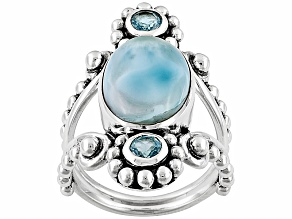Blue Larimar Sterling Silver Ring .60ctw