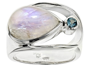 Rainbow Moonstone Sterling Silver Ring .14ctw