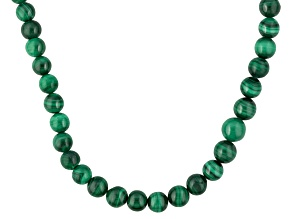 Green Malachite Sterling Silver Bead Necklace
