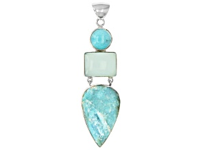 Blue amazonite silver pendant