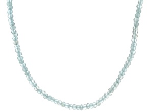 Blue Aquamarine Bead Silver Necklace Approximately 29.70ctw