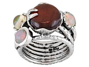 Red Hessonite Garnet Sterling Silver Ring 6.92ctw