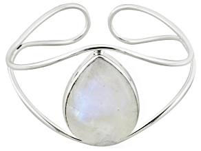Rainbow Moonstone Sterling Silver Cuff Bracelet