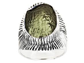 Green Moldavite Sterling Silver Ring 5.00ct