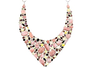 Pink Peruvian Opal Sterling Silver Necklace 58.80ctw