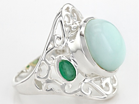 Green Opal Sterling Silver Ring 5.61ctw